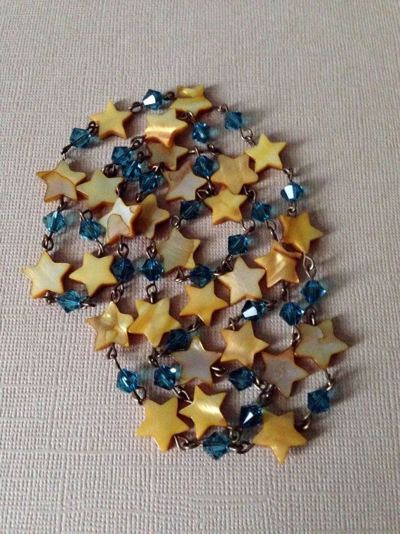 Starry Night Necklace with mother of pearl stars and Indicolite beads