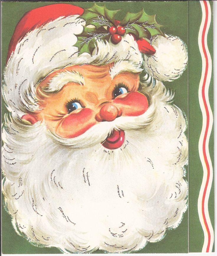 Vintage Christmas Card Santa Claus with Silver Highlights | eBay  (1356 x 1600)