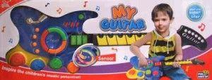 150.000  Gitar untuk anak 3 th+ berukuran 70×23,5 cm dilengkapi dengan tuas effect dan tombol tangga nada. Ada tombol untuk music jazz,hiphop,dan rock yang bisa dimainkan secara bersamaan dengan not yang ada di batang gitar. Juga ada nada demo yang bisa didengarkan ketika di tekan tombolnya. Pada bagian bawahada tombol untuk suara drum. Tempo nada bisa di tambah atau di kurangi. Tak lepas juga tombol volume ada pada gitar inu. Menggunakan 3 buah baterai ukuran AA. Volume 3 kg.