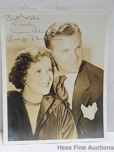 Signed George Burns Gracie Allen Comedy Radio Duo Photograph Autograph 8x10