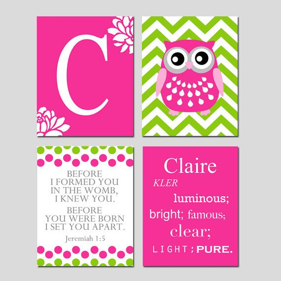 Kids Wall Art  Custom Name Meaning Owl Quad  Floral by Tessyla, $69.50