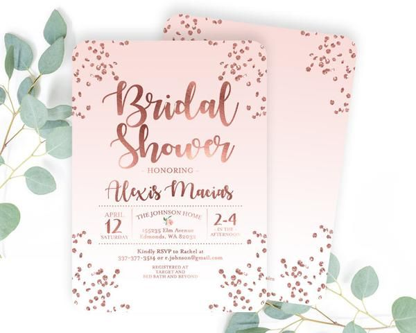 Rose Gold And Dusty Pink Bridal Shower Invitation Blush Pink And Rose Gold Glitter Confetti Bridal Shower Invite Printable Or Printed Rose Gold Bridal Shower Gold Bridal Shower Invitations Rose Gold