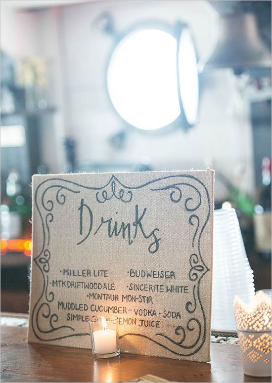 Burlap covered handwritten drink menu! #nauticalwedding
