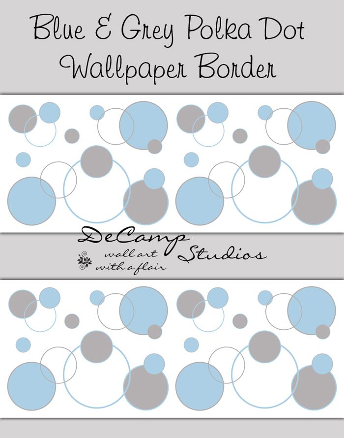 blue and grey polka dot wallpaper border wall decals for baby boy nursery and childrens room - Bder In Grau