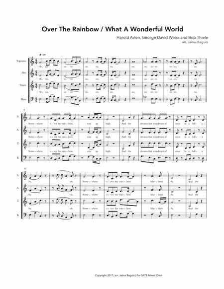 Over The Rainbow/ what a wonderful world by Harold Arlen, George David Weiss and Bob Thiele. Popularised by Israel Kamakawiwo'ole.  Arranged for a Cappella SATB Mixed choir. Sing it in Reggae style.