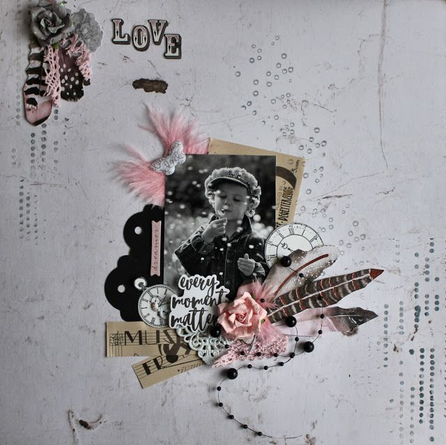 Scraps of Darkness scrapbook kits: black, white and pink layout w/our Aug2017 kit, by Kerstin F. Prima Rose Quartz