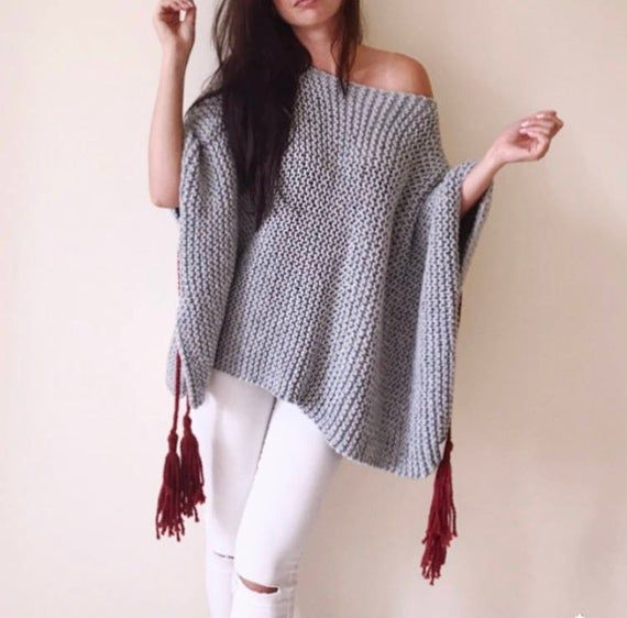 Chunky Grey Poncho Chunky Sweater Poncho Handknitted Poncho Warm Sweater Loose Sweater Openwaves Boho Poncho Big Sweater Grey Poncho Knitted Poncho Chunky Sweater