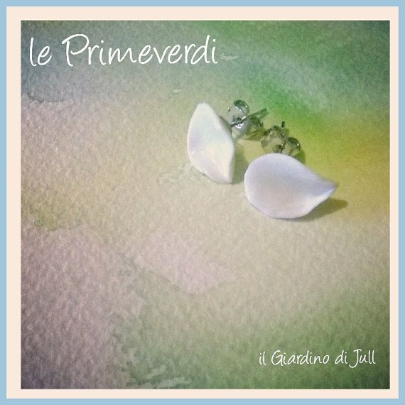 porcelain stud earrings le Primeverdi by IlGiardinodiJull on Etsy