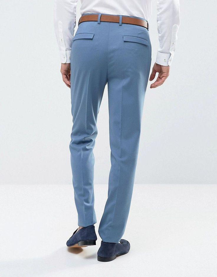 ASOS WEDDING Skinny Suit Pants In Airforce Blue - Blue