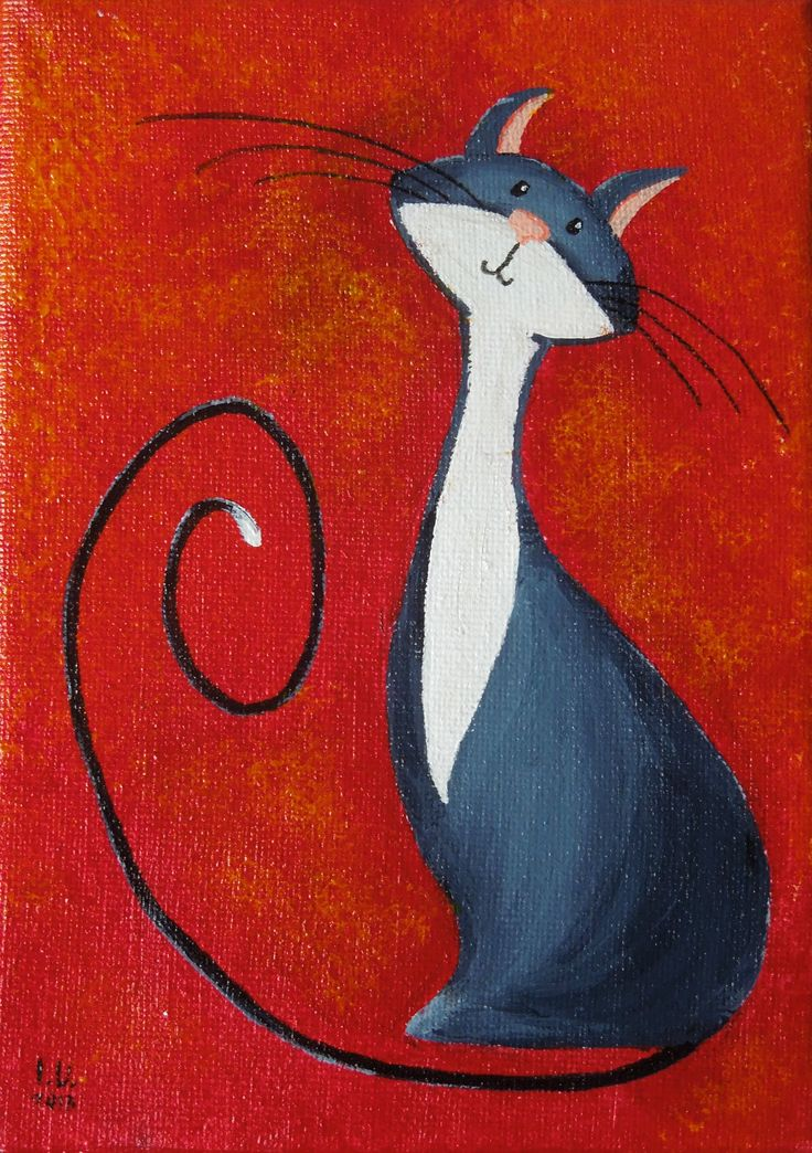 """Look at my new Fantasy Cat painting: """"Virtuous Cat in Black"""""""