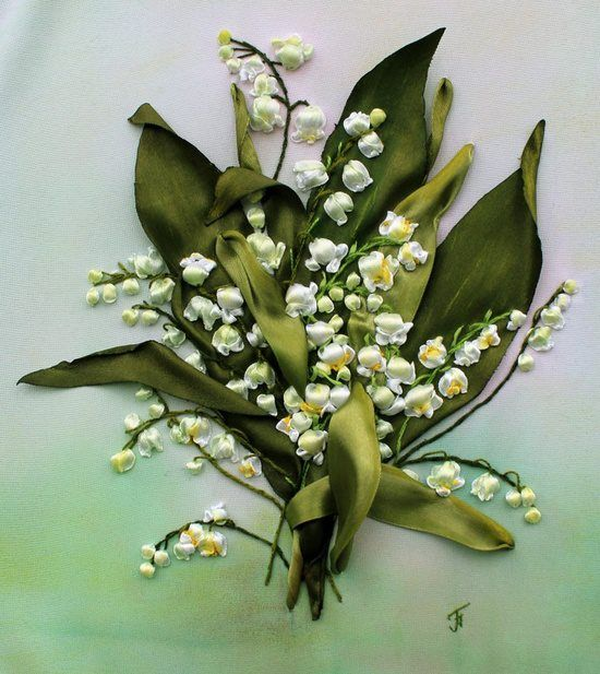 Ribbon embroidery - lily of the valley