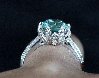 Lotus flower Paraiba Sapphire & Diamond Engagement ring 3 ct 14k 18k White  Yellow Rose Gold