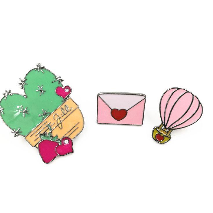 X184 Бесплатная доставка Милый Кактус Воздушном Шаре Конверт Металлические Булавки, Броши, Шикарные Ювелирные Изделия Оптомкупить в магазине SunnyWay JewelryнаAliExpress