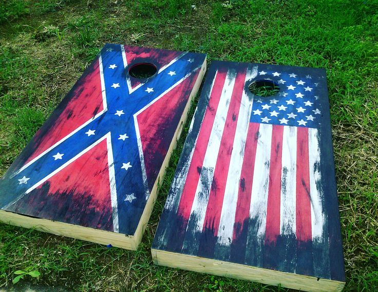 American Flag And Confederate Flag Painted Corn Hole