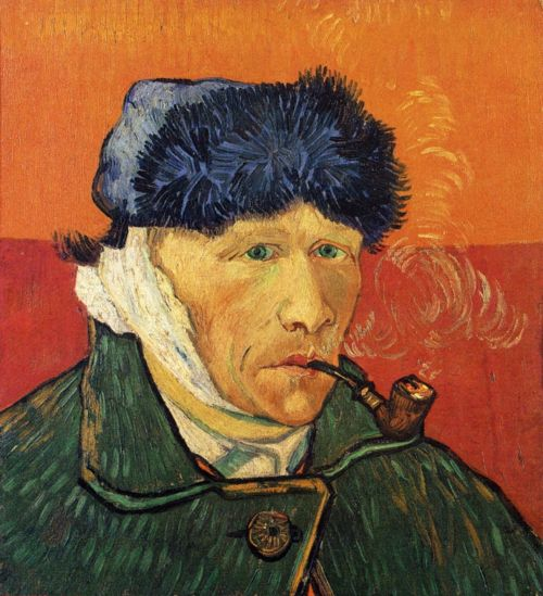 Vincent van Gogh, Self-portrait with Bandaged Ear and Pipe, Arles: January, 1889.  Collection Niarchos