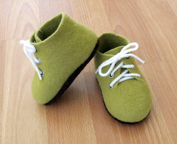 Chaussons bottines bébé 6-12 mois feutrés 100% laine mérinos N 25
