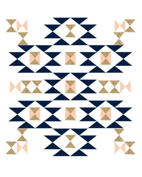 Jacs - Modern pattern design in aztec themed pattern navajo print textile cute trendy girl Art Print
