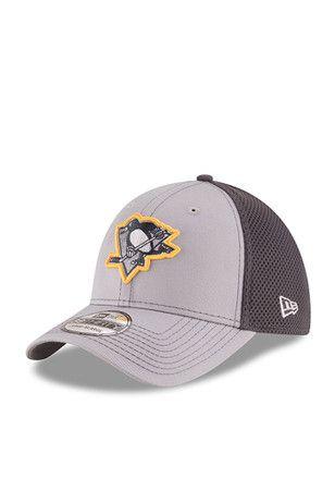 New Era Pitt Penguins Grey Grayed Out Neo 2 39THIRTY Youth Flex Hat