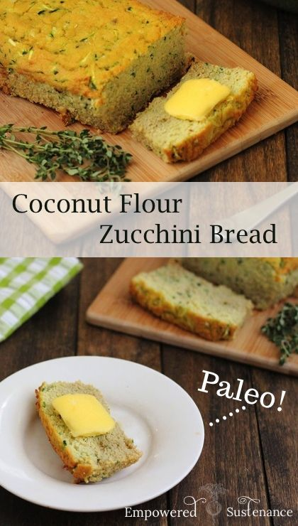 Coconut Flour Zucchini Bread recipe #food #paleo #glutenfree #cleaneating
