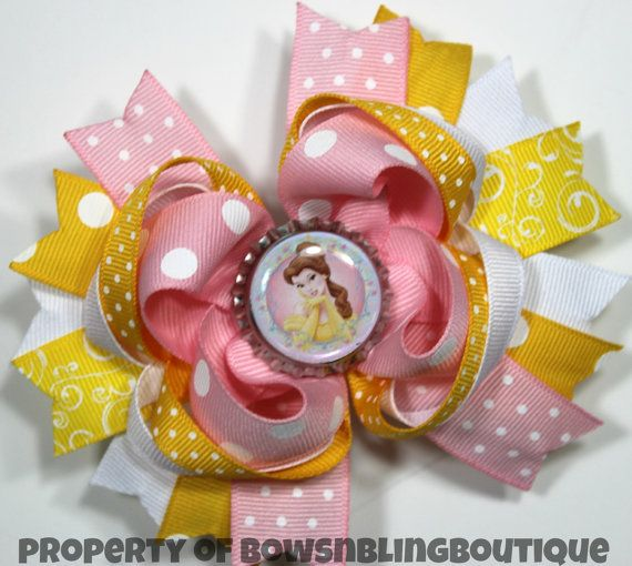 Belle Hair Bow Beauty and the Beast Hairbow by BowsNBlingBoutique, $9.99