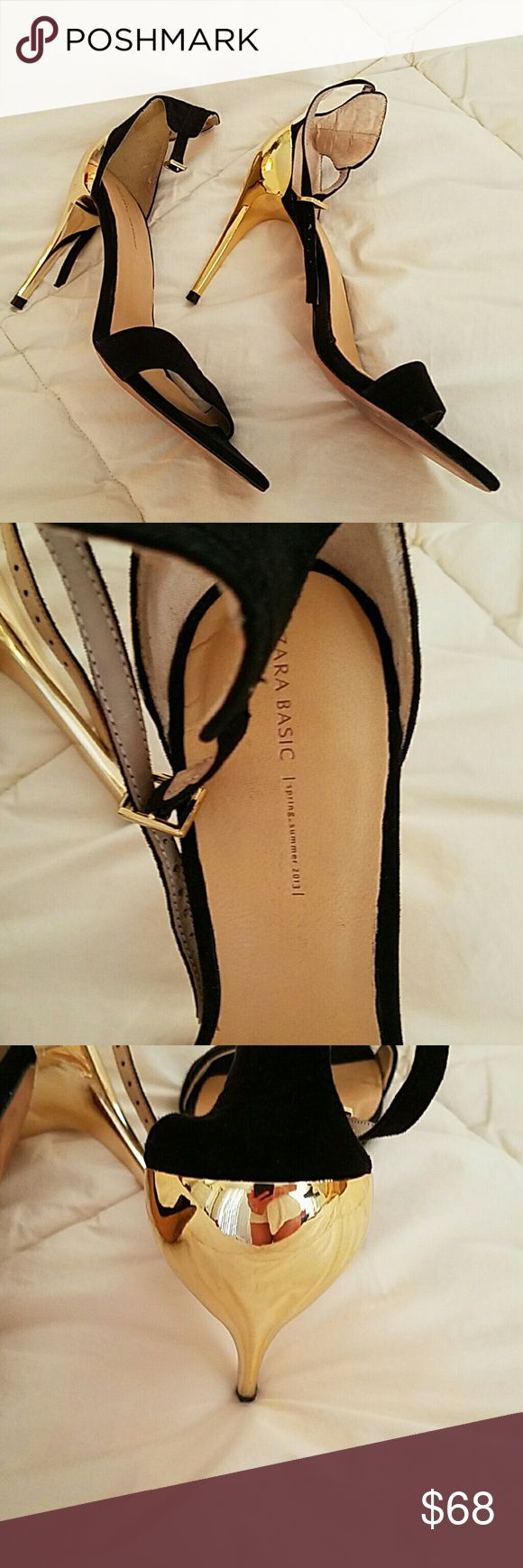 Zara Basic Blk Gold Open Toe Heels Sz 39/9 Gorgeous - Strappy high heeled sandals by Zara Basic Blk and Gold heels!! Size 39/9- worn once perfect condition make offer Zara Shoes Heels