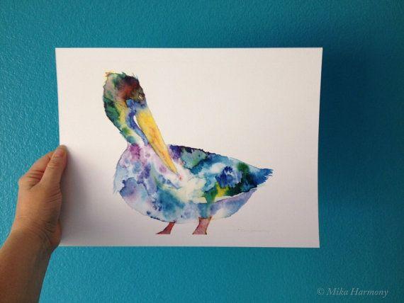 Watercolor Art Pelican Painting Pelican Art Coastal by MikaHarmony