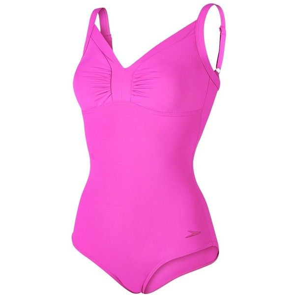 Speedo Sculpture Watergem Adjustable 1 Piece Swimsuit, Pink ($52) ❤ liked on Polyvore featuring swimwear, one-piece swimsuits, speedo one piece swimsuit, swim wear, pink swimsuit, pink bathing suit and 1 piece bathing suits