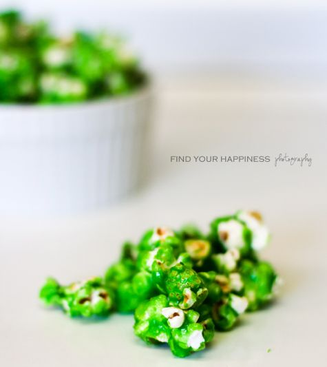 Green popcorn for an incredible hulk party