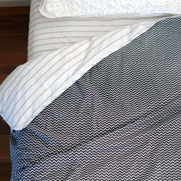 Fictional Objects: Black Zigzag Doona Cover, with Grey Arrow on Reverse - 100% cotton doona cover in selected print with matching fabric re-usable bag. Fits standard doona sizes.