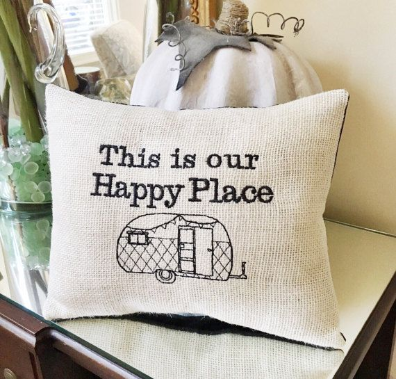 Camper & RV Décor . Burlap Throw Pillow . Wander the Wonder Pillow . Rustic Home Decorating . Vintage Camper Pillow Quote . Happy Camper Gift Idea . Retro Travel Trailer Gift for Couples  I have made the perfect pillow for your special home away from home. I hope you enjoy this little piece of added happiness. - + - Using a double layer of burlap for the front, I have also securely machine embroidered the design for added strength and durability. The pillow is machine sewn using tight sti...