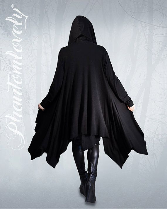 DARKNESS Hooded Cloak Jacket Thumb Hole Sleeves Asymmetrical Hem Hoodie Organic Jersey Regular Tall & Plus Sizes