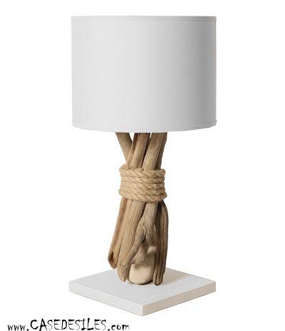 Lampe de chevet galet bois flotté 35cm blanche Pas Cher