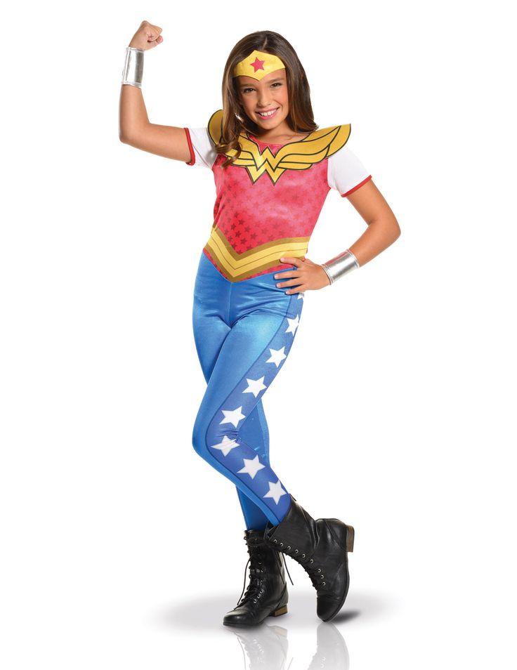 Wonder Woman™ Kostüm für Mâdchen mit Jumpsuit, Kragen, Gürtel, Haarband und Armbändern.