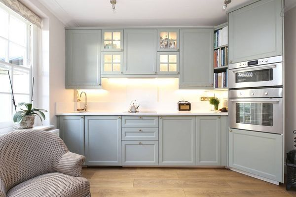 Best Ikea Kitchen Painted In Farrow Ball Pigeon House 400 x 300
