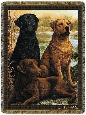 48x68 LABRADOR Lab Dog Black Chocolate Yellow Tapestry Blanket Afghan Throw