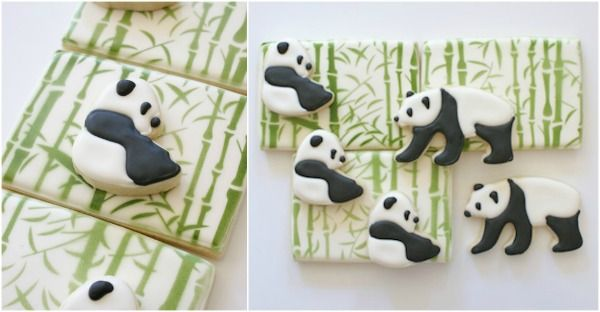 Cookie Countess Panda With Bamboo Design - I know the perfect person to make these for ;-)