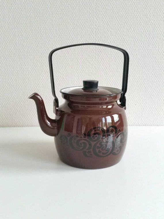 Excellent vintage Finel Arabia brown pattern Enamel Kettle Teapot - Kaj Franck /Raija Uosikkinen. Large 1.5 l.