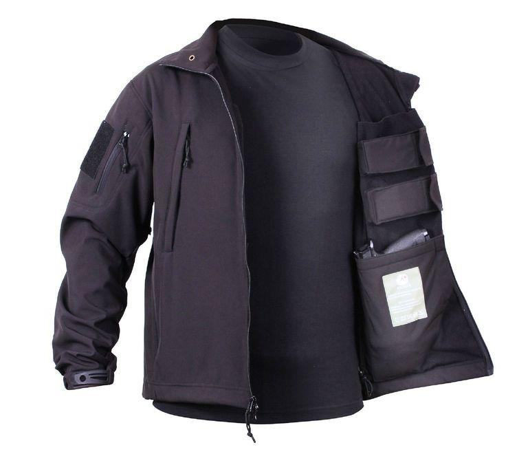Men's Black Concealed Carry Soft Shell Tactical Jacket Waterproof Coat – Grunt Force