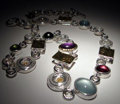 Dorthe Kristensen - Pearl, Acquamarine, Garnet & Pink Tourmaline Necklace - oxidised silver, 22 ct gold with fresh water pearls, acquamarine, garnet & pink tourmaline