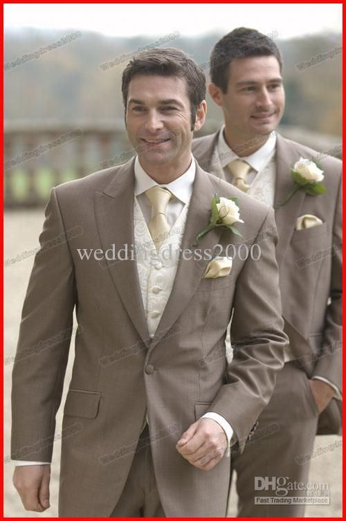 Wholesale New Arrival Dark Khaki Wedding Suits Bridal Groom Suits Fashion Mens Suits/Tuxedo Custom Made 2013, Free shipping, $115.36-126.56/Piece | DHgate