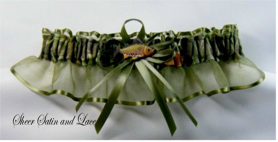 Fishing Camouflage wedding garters FISH CAMO by SheerSatinandLace, $14.99
