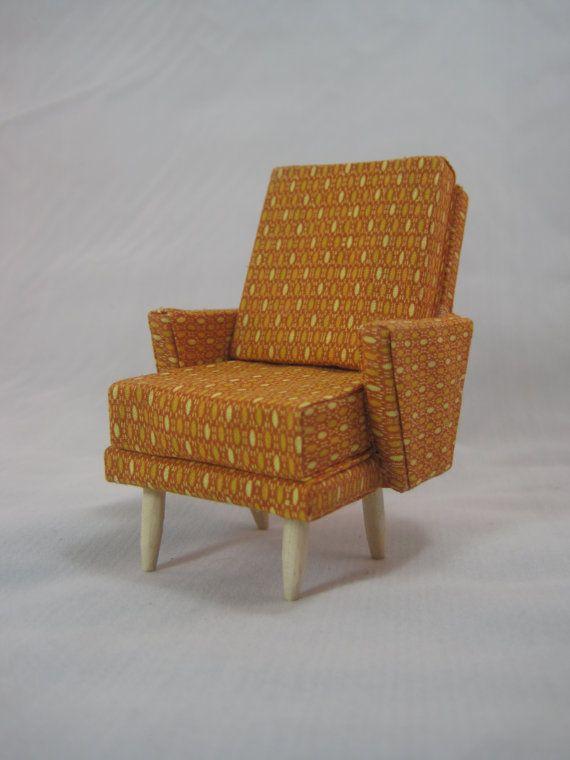 miniature modern furniture. orange miniature midcentury modern chair by modpodminiatures 2000 furniture