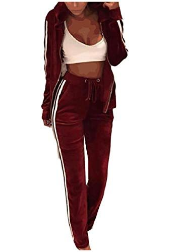 1d12da25 Womens Gold Velvet Workout Gym Hoodie Casual Zip-Up Sweatsuit Set ...