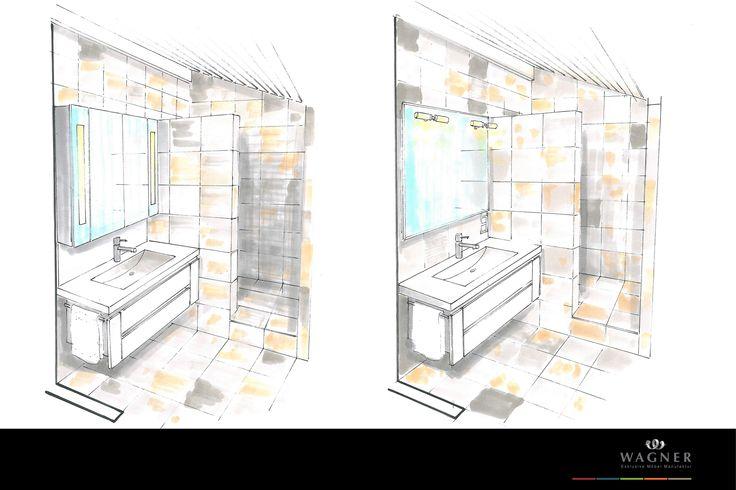 bad mit waschtisch aus corian modernem spiegel und kalksteinflie en aus grau braunen. Black Bedroom Furniture Sets. Home Design Ideas
