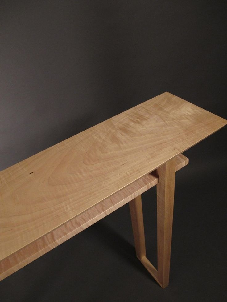 Best Tiger Maple Narrow Console Table Mid Century Modern Wood 400 x 300