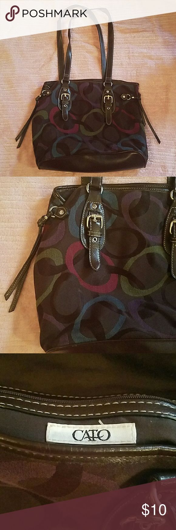 """CATO Bag Brown CATO bag with green, purple, maroon, blue and dark brown pattern on the outside trimmed in dark brown vinyl trim with a magnetic button inside to close. Gently used, like NEW. Dimensions: 10"""" H x 13"""" L x 5"""" W  Feel free to make an offer or ask any questions! Cato Bags Shoulder Bags"""