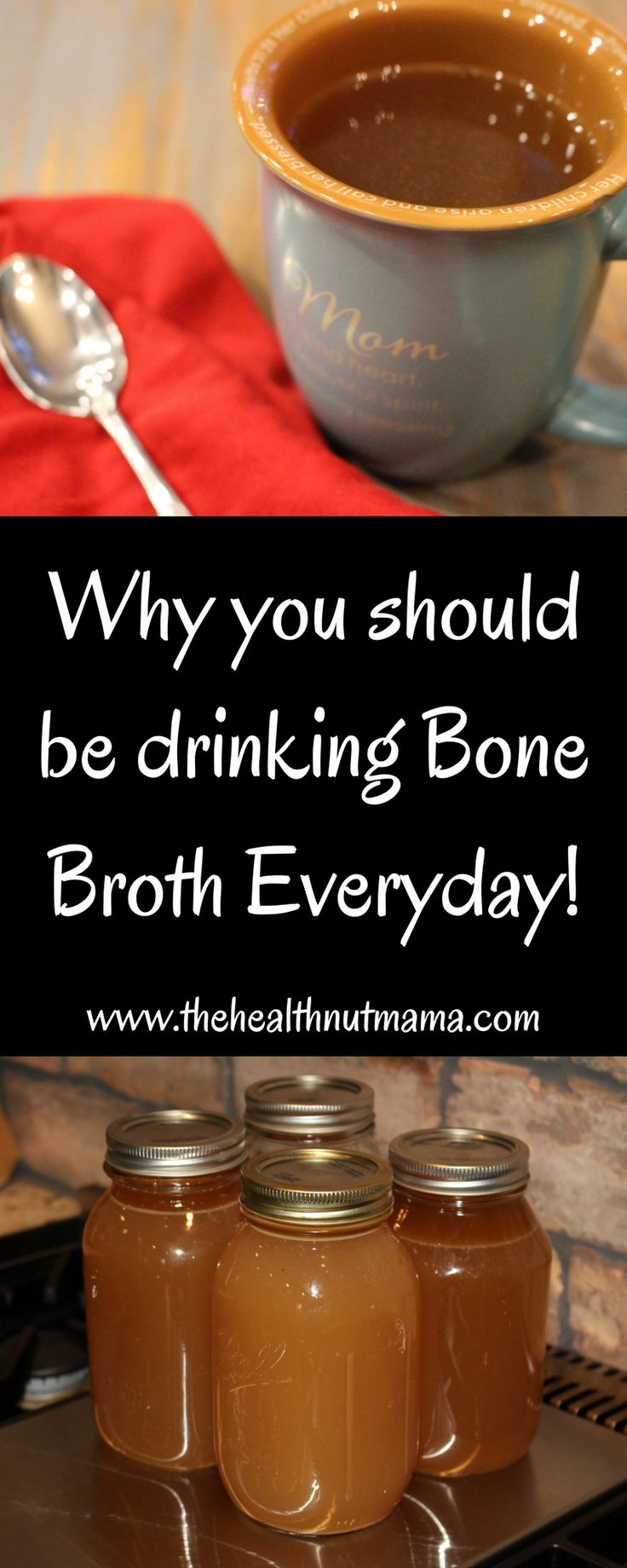Why you should be drinking Bone Broth Everyday! The benefits of Bone Broth. If you have leaky gut or autoimmune disease, you need to be drinking it everyday! Great for Hair, Nails, Cellulite too!