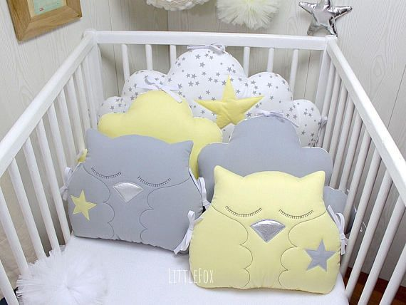 Baby Cot Bumpers Clouds And Owls Cushions Kids Bedroom Decor