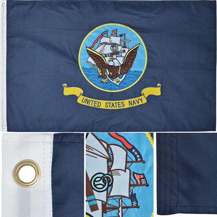 U.S. Navy Flag 3' x 5' Ft 210D Nylon Premium Outdoor Embroidered Flag