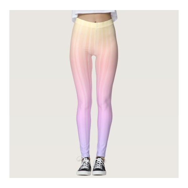 Trendy Colorful Ombre Pastel Rainbow Leggings ($60) ❤ liked on Polyvore featuring pants, leggings, ombre pants, legging pants, multi coloured leggings, multi color pants and colorful pants